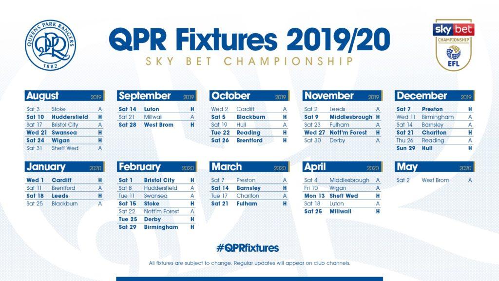 QPR FIXTURES 2019/20